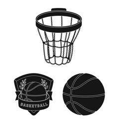 Basketball and attributes black icons in set vector