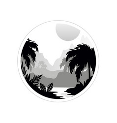 Beautiful tropical scenery with trees mountains vector