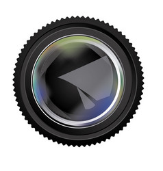 Black camera lens little open icon vector