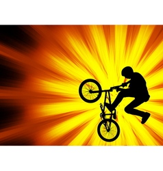 bmx bicyclist - abstract background vector image