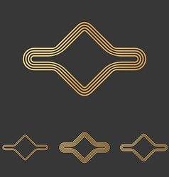 Bronze line abstract logo design set vector