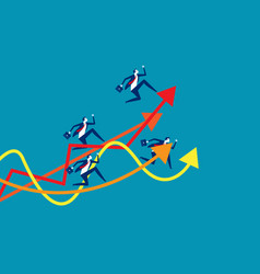 business team running up to graph concept vector image