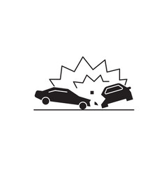 car accident black concept icon car vector image