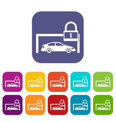 car and padlock icons set vector image