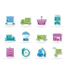 cargo and shipping icons vector image