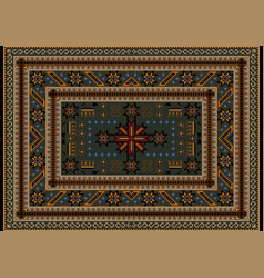 Carpet with vintage ornament in brown shades vector