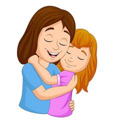 Cartoon happy mother hugging her daughter vector