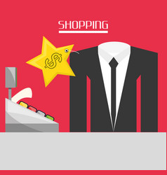 Cash register with suit shopping concept vector