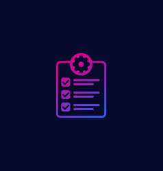 check list icon with gear vector image