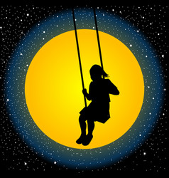 child having fun on a swing in the night vector image