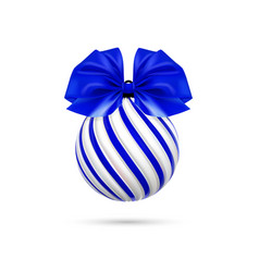 christmas blue ball with blue bow and vector image