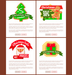 christmas sale posters gingerbread cookies vector image