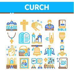 Church christianity collection icons set vector