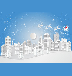city for christmas season with snowflake and vector image