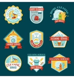 Cleaning emblems set vector