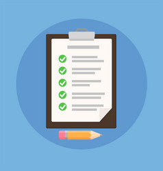clipboard with checklist on blue flat of vector image
