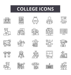 college line icons signs set outline vector image