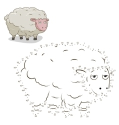 Connect dots game sheep vector