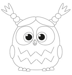 cute baby girl owl black and white poster vector image