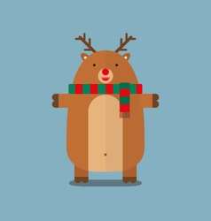 Cute fat big reindeer wear scarf flat design vector