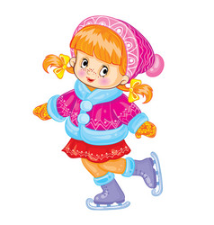 cute girl in shark and fur coat skates cartoon vector image