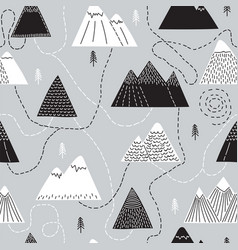 Cute hand drawn seamless pattern with trees and vector