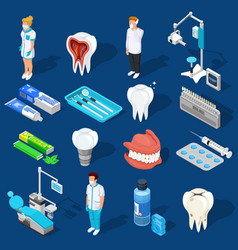 Dental work elements set vector