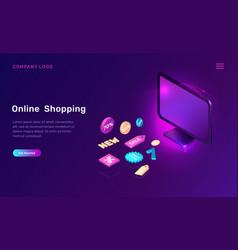 Digital marketing online shopping isometric vector