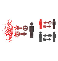 Disintegrating dotted halftone happy emotion vector