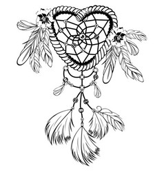 dream catcher with feathers vector image