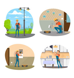 Electrician with tool icon of electrical service vector