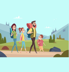 Family hiking background walking couples in vector