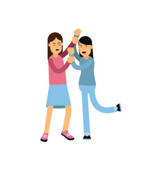 Flat cartoon characters of two mad women fighting vector