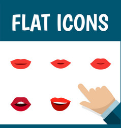 Flat icon mouth set of pomade teeth lips and vector
