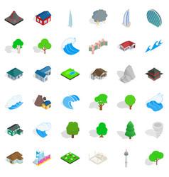 Flood icons set isometric style vector
