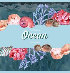 Frame design with sealife theme creative contrast vector