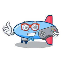 gamer zeppelin mascot cartoon style vector image