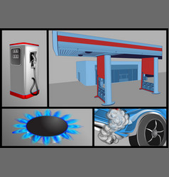 gas industry set vector image