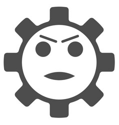 Gear angry smiley flat icon vector