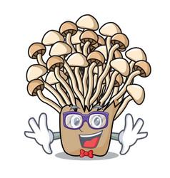 geek enoki mushroom character cartoon vector image