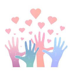 Gentle color gradient human hands vector
