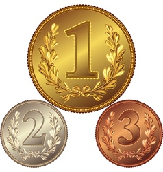 gold silver and bronze medal vector image