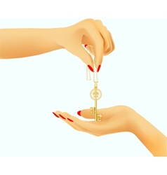 golden key in hand vector image
