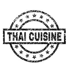 Grunge textured thai cuisine stamp seal vector