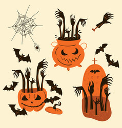 halloween zombie hands trick or treat objects vector image