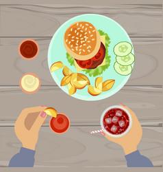 Hamburger and french fries vector