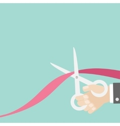 Hand scissors cut the ribbon Opening ceremony vector image