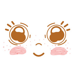 Happy face kawaii with cute eyes and cheeks vector