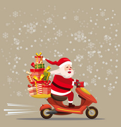 happy santa claus with a gifts box riding a vector image