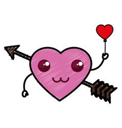 Heart love card with arrow kawaii character vector